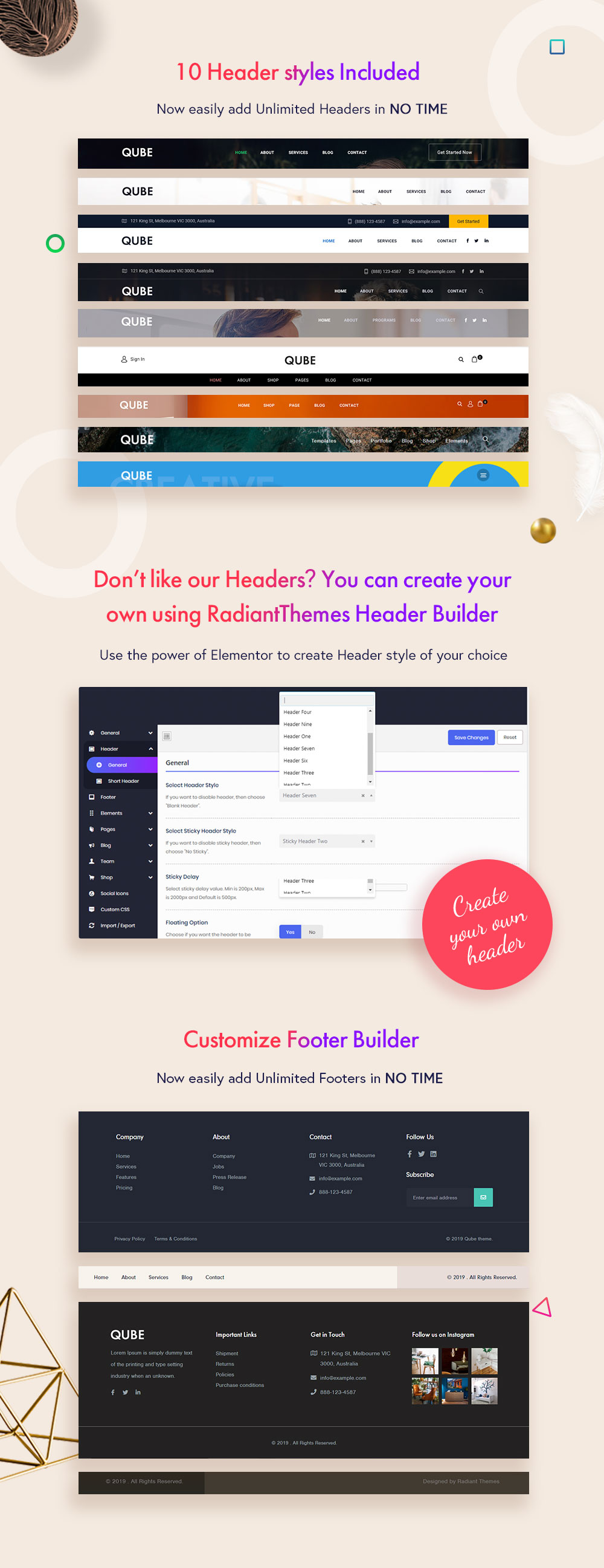 header and footer builder
